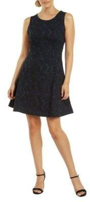 Dex Sleeveless Fit--Flare Jacquard Dress
