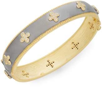 Freida Rothman Women's 14K Yellow Gold Vermeil & Pavé Clover Bangle Bracelet - Silver