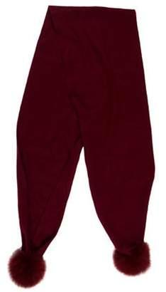 Gorski Apres Ski Cashmere Fur-Trimmed Scarf Red Apres Ski Cashmere Fur-Trimmed Scarf