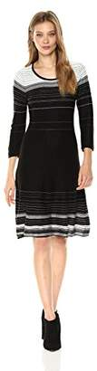 Nine West Women's 3/4 Sleeve Verigated Stripe Dress