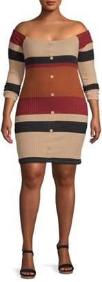 Derek Heart Juniors' Plus Size Long Sleeve Off-Shoulder Ribbed Dress