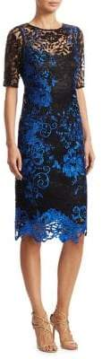 Teri Jon by Rickie Freeman by Rickie Freeman Women's Embroidered Knee-Length Cocktail Dress - Royal Blue - Size 4