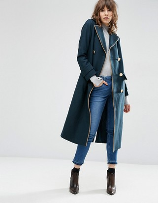 ASOS Wool Blend Coat in Midi Length with Military Details $143 thestylecure.com