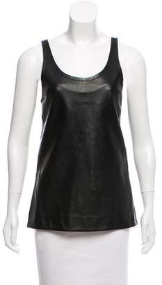 Bassike Leather Sleeveless Top