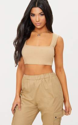 PrettyLittleThing Rust Rib Square Neck Crop Top