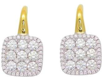 Frederic Sage Diamond Medium Firenze Cushion Earrings in 18K Yellow & White Gold