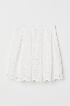 H&M Skirt with Eyelet Embroidery - White