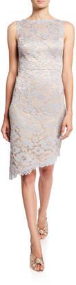 Eliza J Eyelash Lace Asymmetric Sheath Dress