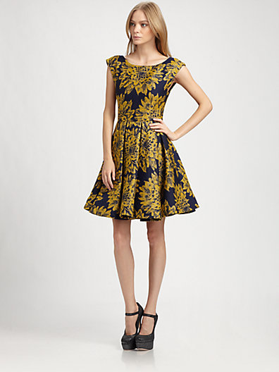 Alice + Olivia Reese Flared Box-Pleat Dress