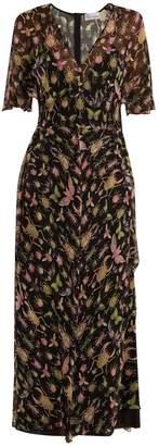 RED Valentino Bug-print V-neck silk-chiffon midi dress