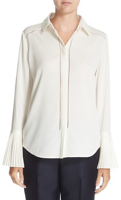 Women's Nordstrom Signature And Caroline Issa Pleated Cuff Silk Blouse $399 thestylecure.com