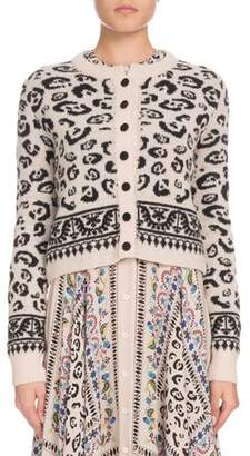 Altuzarra Leopard-Print Button-Front Cropped Wool-Blend Cardigan