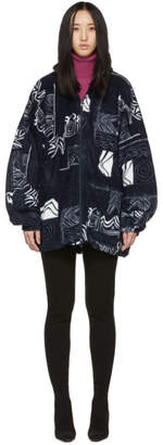 Balenciaga White and Navy Oversized Abstract Spiral Zip-Up Sweater