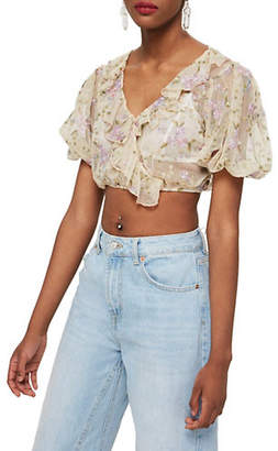 Topshop Embroidered Mesh Crop Ruffle Top