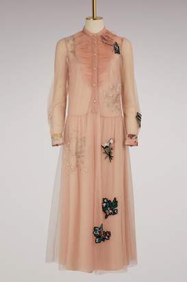 RED Valentino Embroidered Floral Tulle Dress