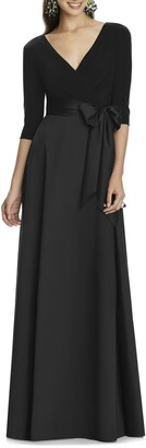 Alfred Sung Jersey & Mikado A-Line Gown