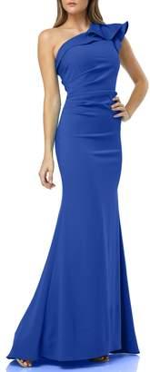 Carmen Marc Valvo One-Shoulder Gown