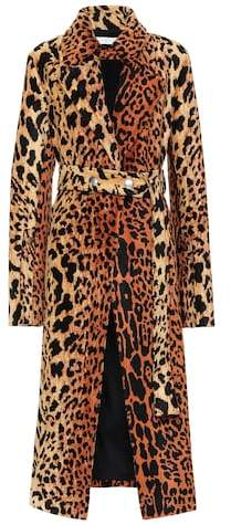 Leopard-print silk-blend coat