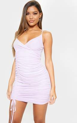 9af7ae234db PrettyLittleThing Lilac Strappy Mesh Ruched Side Bodycon Dress