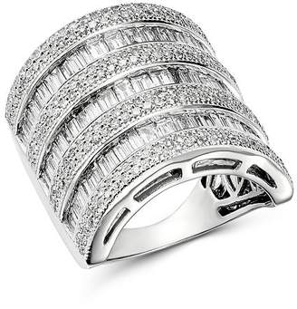 Bloomingdale's Diamond Channel-Set Baguette & Micro Pavé Statement Ring in 14K White Gold, 3.0 ct. t.w. - 100% Exclusive
