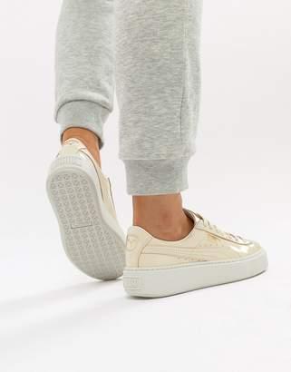Puma Basket Heart Patent Sneaker in oatmeal