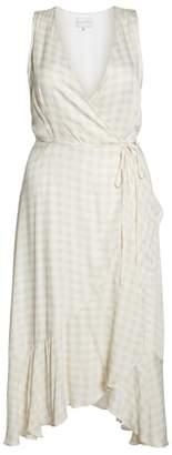 Charles Henry Sleeveless Gingham Wrap Dress