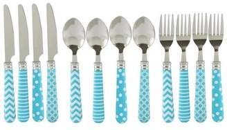 Gibson Home Retro Diner 12 piece Flatware Set with Turquoise Plastic Handle