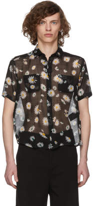 Saint Laurent Black Short Sleeve Flower Shirt