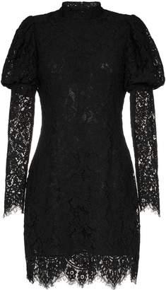 Ganni Everdale puff sleeve lace cotton blend mini dress