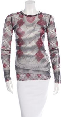 Jean Paul Gaultier Argyle Print Mesh Top $95 thestylecure.com
