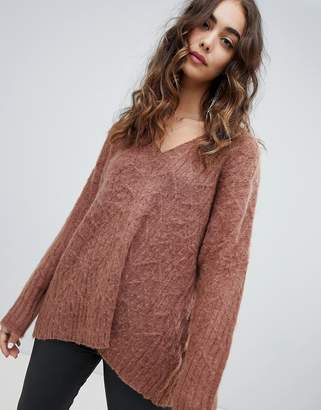 Religion fluffy knit oversized v-neck cable knit sweater