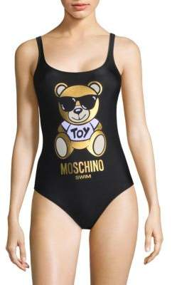 One-Piece Teddy Bear Logo Swimsuit