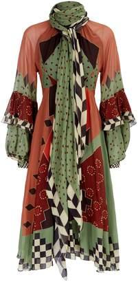 Etro Geometric Silk Midi Dress
