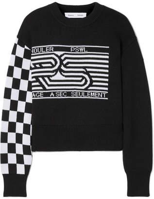 Proenza Schouler Pswl Wool-blend Jacquard Sweater - Black