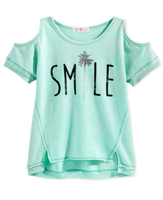Kandy Kiss Cold-Shoulder Smile Graphic Top, Big Girls (7-16) $28 thestylecure.com
