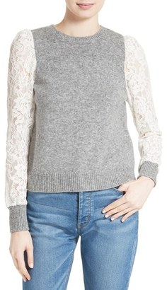 Women's Rebecca Taylor Lace Sleeve Sweater $395 thestylecure.com