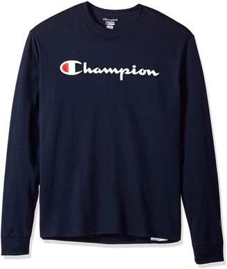 Champion Life Men's Cotton Tee (Patriotic Long Sleeve Script), Navy, S