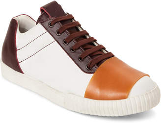 Marni Off-White & Burgundy Canvas & Leather Low-Top Sneakers