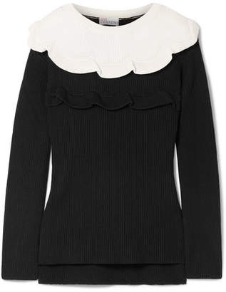 RED Valentino Ruffled Two-tone Cotton Sweater - Black