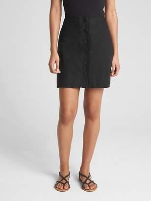 Gap Button-Front Skirt in Linen-Cotton