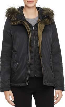 SAGE Collective Faux Fur Trim New Flight Satin Jacket - 100% Exclusive