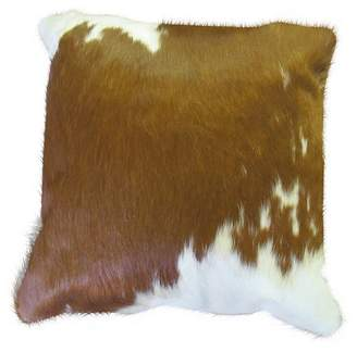 Co NSW Leather Cowhide Cushion, Brown/White