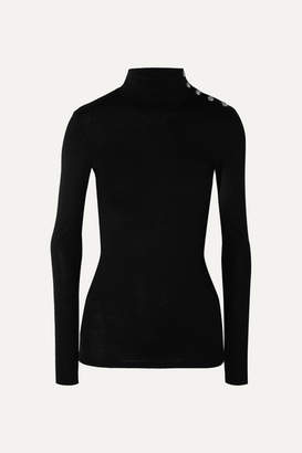 Balmain Button-embellished Wool And Cotton-blend Turtleneck Sweater - Black