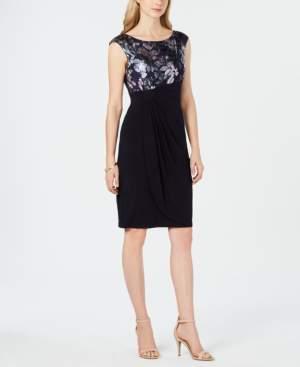 Connected Metallic Floral-Print Faux-Wrap Dress