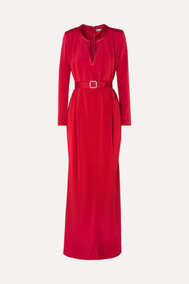 Alexis Mabille Crystal-embellished Belted Crepe Gown - Red