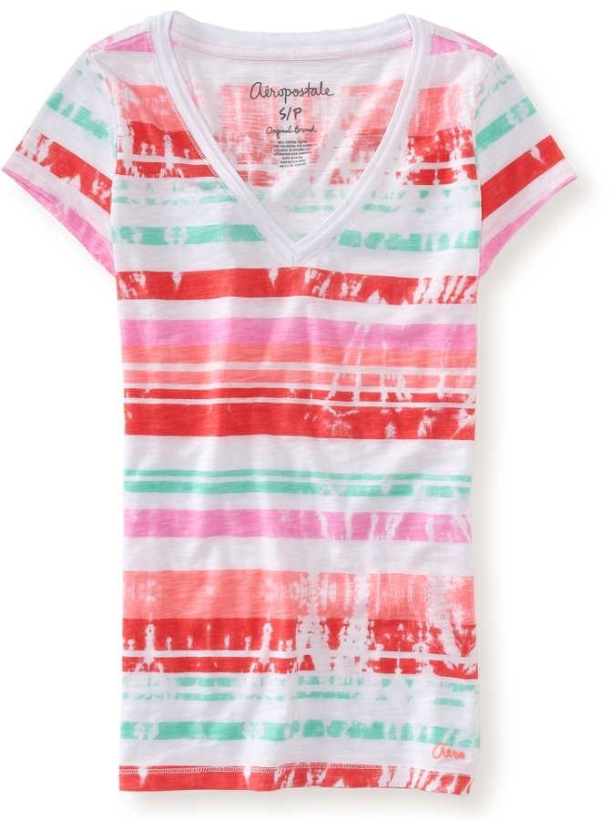 Aeropostale Tie-Dye Stripe V-Neck Tee