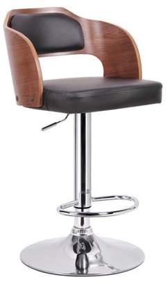 "Wholesale Interiors Sitka 34"" Modern Bar-Height Stool, Walnut/Black"