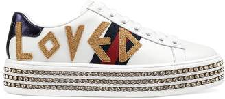Gucci Women's New Ace Leather Platform Sneakers
