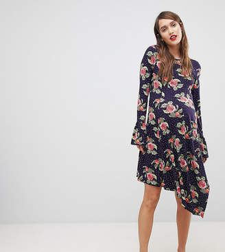 Asos Mini Dress With Hanky Hem And Frill Cuff In Spot Floral Print