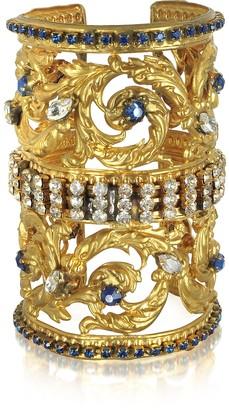 Sara Bencini Golden Brass Corinthian Column Cuff Bracelet w/Pave Crystals